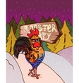 retro rooster sign with hand drawn crowing vector image vector image
