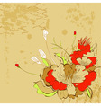 retro stylized background with flowers vector image vector image