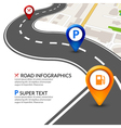 Road map city infographic with colorful pins vector image vector image