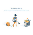 room service concept cleaning trolley and maid vector image vector image