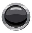 Round black button icon cartoon style vector image