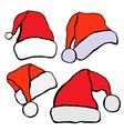 Santa hat set vector image