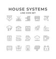 set line icons house systems vector image