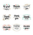Set of 9 Thank you labels emblems stickers or vector image vector image