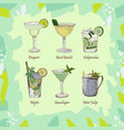 set of classic cocktails on abstract green vector image
