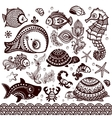 set of fish and flowers with ornaments vector image vector image