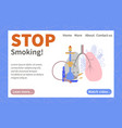 stop smoking landing page vector image vector image