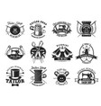 tailor shop atelier dressmaker sewing icons vector image
