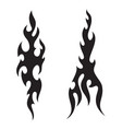 tattoo fire flames black white silhouette vector image