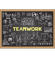 Teamwork on chalkboard vector image vector image