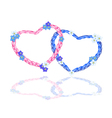 Two Rope Heart with Forget Me Not Flower vector image
