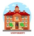University for higher graduate education building vector image vector image