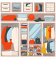 wardrobe with accessories bags and clothes vector image