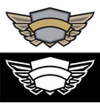 winged shield logo with banner vector image vector image