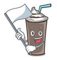 With flag ice chocolate mascot cartoon