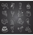 hand-drawn party icon set vector image