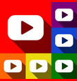 play button sign set of icons with flat vector image