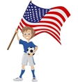 Happy soccer fan holds USA flag vector image