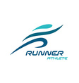 Runner logo Fast simple stylized athlete figure vector image