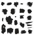 Grunge painted brush strokes Design elements set vector image