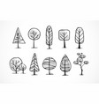 set of doodle sketch trees on white background vector image