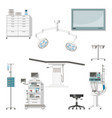 set with medical furniture and equipment of a vector image