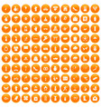 100 flowers icons set orange vector image vector image
