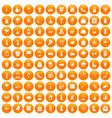 100 flowers icons set orange vector image vector image