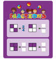 a math fractions worksheet vector image vector image