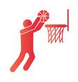 basketball game player shooting in hoop