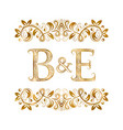 be vintage initials logo symbol letters b vector image