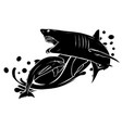 black silhouette dolphin who is jumping out sea vector image vector image