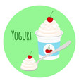 cherry yogurt in plastic cup milk cream product vector image