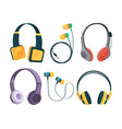 collection set of different headphones vector image vector image