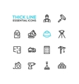 Construction - Thick Single Line Icons Set vector image vector image