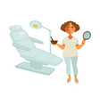 cosmetologist in uniform with mirror and bowl of vector image vector image
