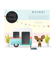 Cute animal collection Dog house 3 vector image vector image