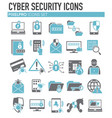 cyber security icons set on white background for vector image