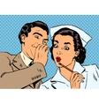 diagnosis patient nurse and male gossip surprise vector image vector image