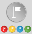 flag icon sign Symbol on five flat buttons vector image