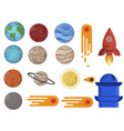 flat space setkit with planets comets rocket vector image
