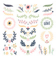 Floral ornament wreath retro flower swirl banner