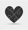 four black piece jigsaw puzzle heart love vector image vector image