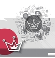 Hand drawn crown icons with icons background vector image