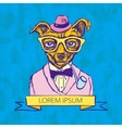 Hand Drawn Fashion of Doggy Hipster vector image vector image