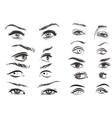 hand drawn woman eyes collection on white vector image vector image