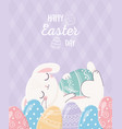 happy easter cute rabbit resting on decorative vector image