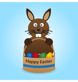 happy easter rabbit with basket full of eggs eps10 vector image vector image