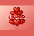 heart balloons on pink background for valentines vector image vector image