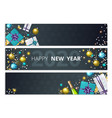 holiday banners year party flyers vector image